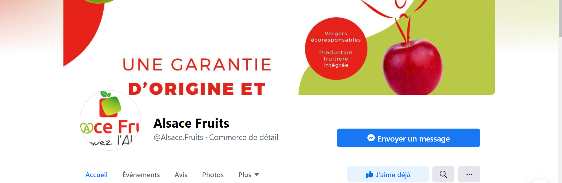 Page Facebook Alsace Fruits